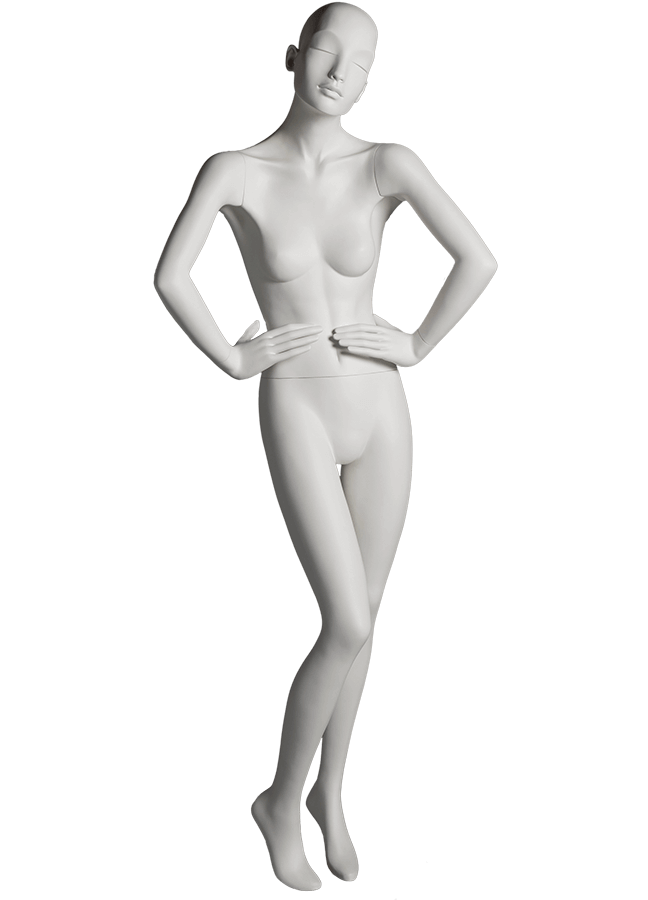 "HEARTBREAKER FEMALE POSE 1 FRONT   ITEM# HB-F1C  Measurements:  Height 71""  Bust 32-1/2""  Waist 23-3/4""  Hip 34 1/2""  Heel 4"""