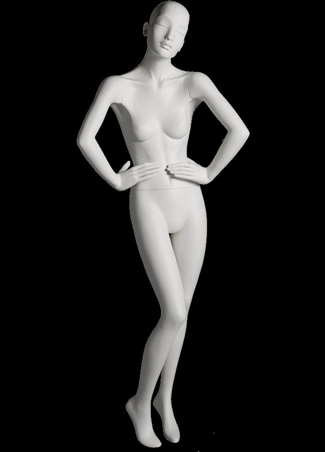 "HEARTBREAKER FEMALE POSE 1 FRONT   ITEM# HB-F1C  Measurements:  Height 71""  Bust 32-1/2""  Waist 23-3/4""  Hip 34 1/2""  Heel 4"""