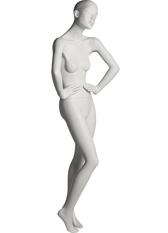 "HEARTBREAKER FEMALE POSE 1 FRONT   ITEM# HB-F1C RIGHT SIDE  Measurements:  Height 71""  Bust 32-1/2""  Waist 23-3/4""  Hip 34 1/2""  Heel 4"""