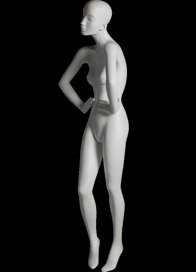 "HEARTBREAKER FEMALE POSE 1 FRONT   ITEM# HB-F1C LEFT SIDE  Measurements:  Height 71""  Bust 32-1/2""  Waist 23-3/4""  Hip 34 1/2""  Heel 4"""