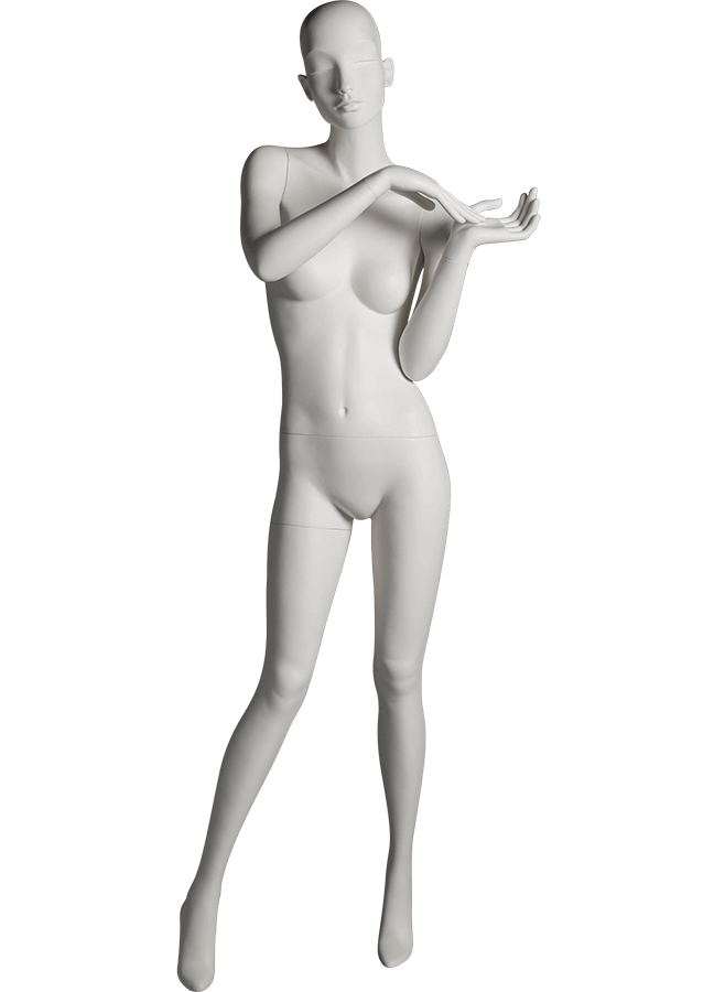 "HEARTBREAKER FEMALE POSE 2 FRONT   ITEM# HB-F2C  Measurements:  Height 71""  Bust 32-1/2""  Waist 23-3/4""  Hip 34 1/2""  Heel 4"""