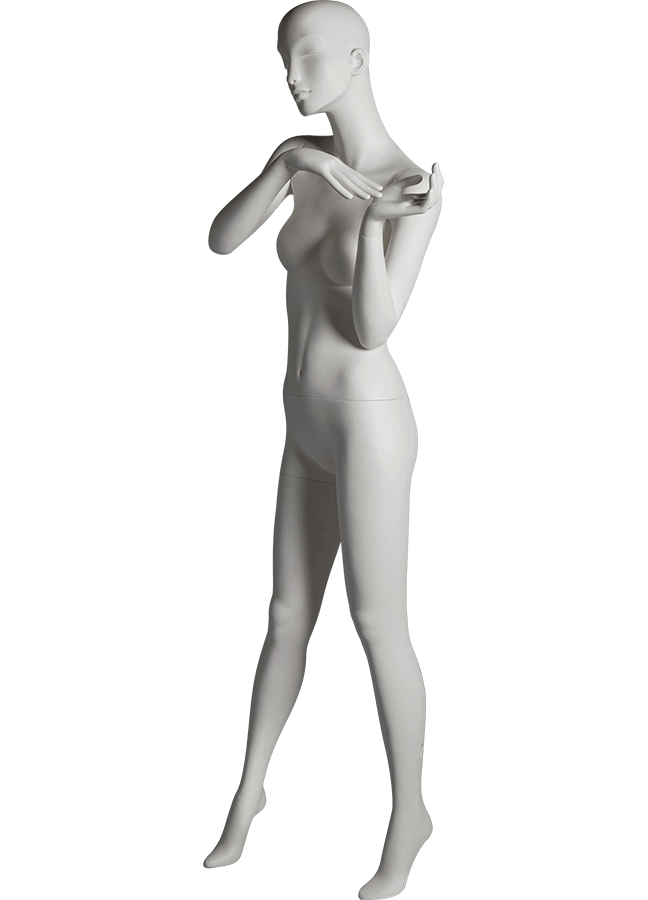 "HEARTBREAKER FEMALE POSE 2 LEFT   ITEM# HB-F2C  Measurements:  Height 71""  Bust 32-1/2""  Waist 23-3/4""  Hip 34 1/2""  Heel 4"""