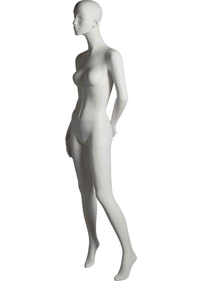 "HEARTBREAKER FEMALE POSE 3 LEFT   ITEM# HB-F3C  Measurements:  Height 71""  Bust 32-1/2""  Waist 23-3/4""  Hip 34 1/2""  Heel 4"""