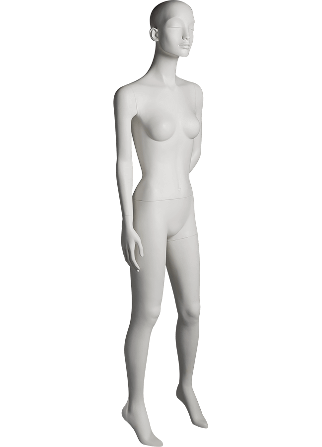 "HEARTBREAKER FEMALE POSE 3 RIGHT   ITEM# HB-F3C  Measurements:  Height 71""  Bust 32-1/2""  Waist 23-3/4""  Hip 34 1/2""  Heel 4"""