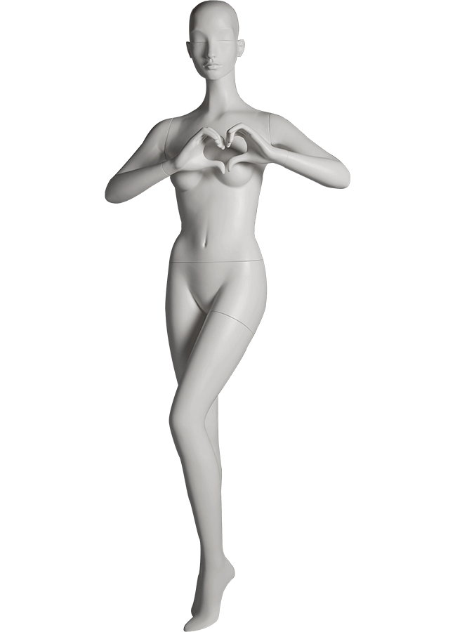 "HEARTBREAKER FEMALE POSE 4 FRONT  ITEM# HB-F4C  Measurements:  Height 71""  Bust 32-1/2""  Waist 23-3/4""  Hip 34 1/2""  Heel 4"""