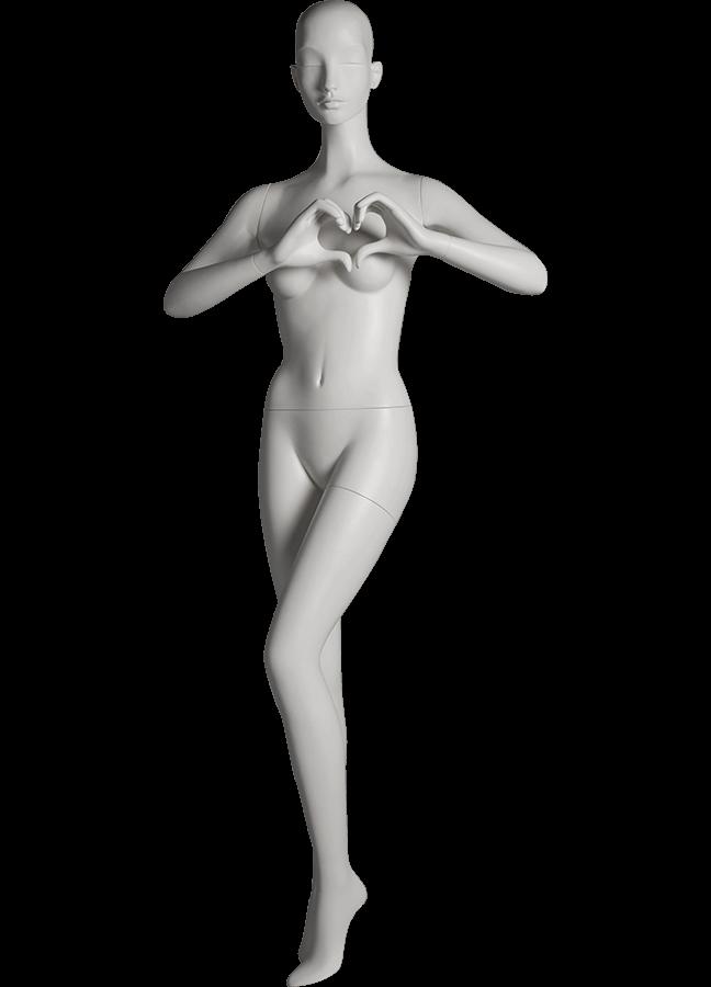 "HEARTBREAKER FEMALE POSE 4 FRONT  ITEM# HB-F4C  Measurements:  Height 71""  Bust 32-1/2""  Waist 23-3/4""  Hip 34 1/2""  Heel 4"""