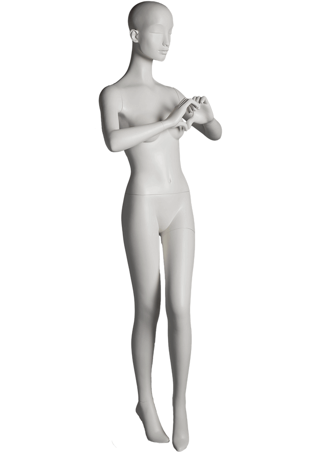 "HEARTBREAKER FEMALE POSE 4 RIGHT   ITEM# HB-F4C  Measurements:  Height 71""  Bust 32-1/2""  Waist 23-3/4""  Hip 34 1/2""  Heel 4"""