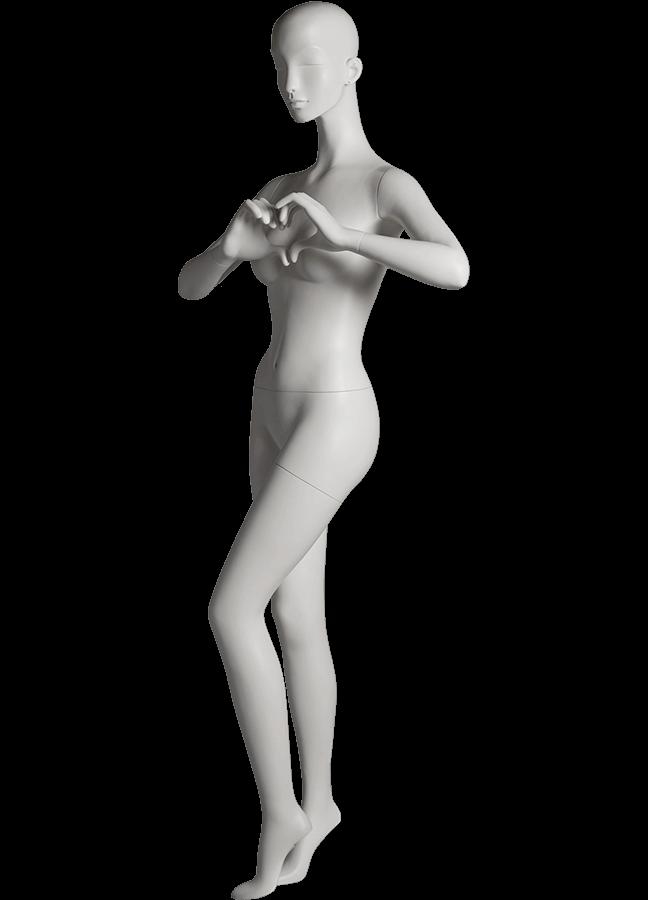 "HEARTBREAKER FEMALE POSE 4 LEFT   ITEM# HB-F4C  Measurements:  Height 71""  Bust 32-1/2""  Waist 23-3/4""  Hip 34 1/2""  Heel 4"""