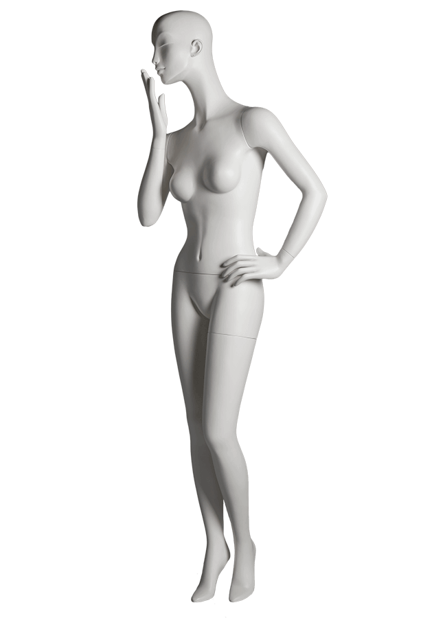 "HEARTBREAKER FEMALE POSE 5 LEFT   ITEM#  Measurements:  Height 71""  Bust 32-1/2""  Waist 23-3/4""  Hip 34 1/2""  Heel 4"""