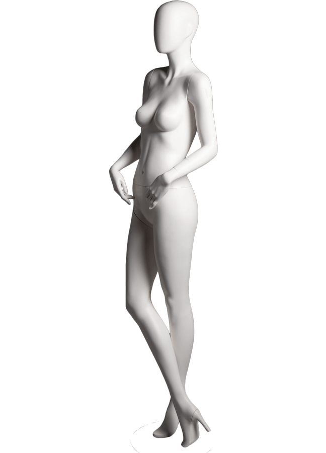 "SHADE POSE 5-B ITEM#SHA-F5-B LEFT   Measurements: Height 74""  Bust 32-1/4""  Waist 24-7/8""  Hip 36-1/2"" Footprint 9-1/2""  Heel 4"""