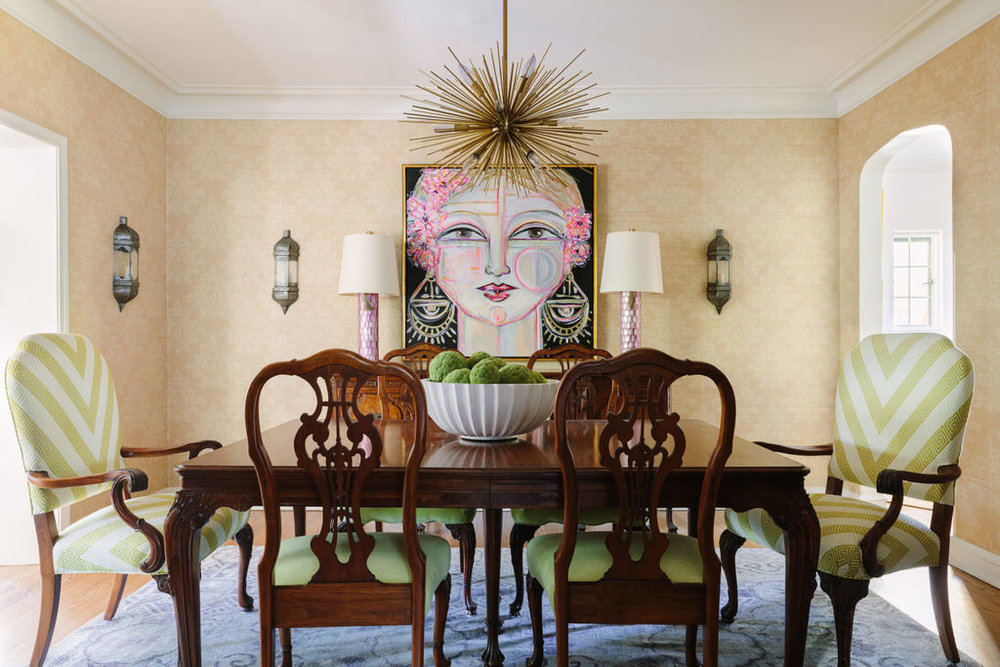 Chicago interior designer Grass cloth dining room with Circa Lighting sputnik chandelier, Anthropologie sconces and chevron antique dining chairs