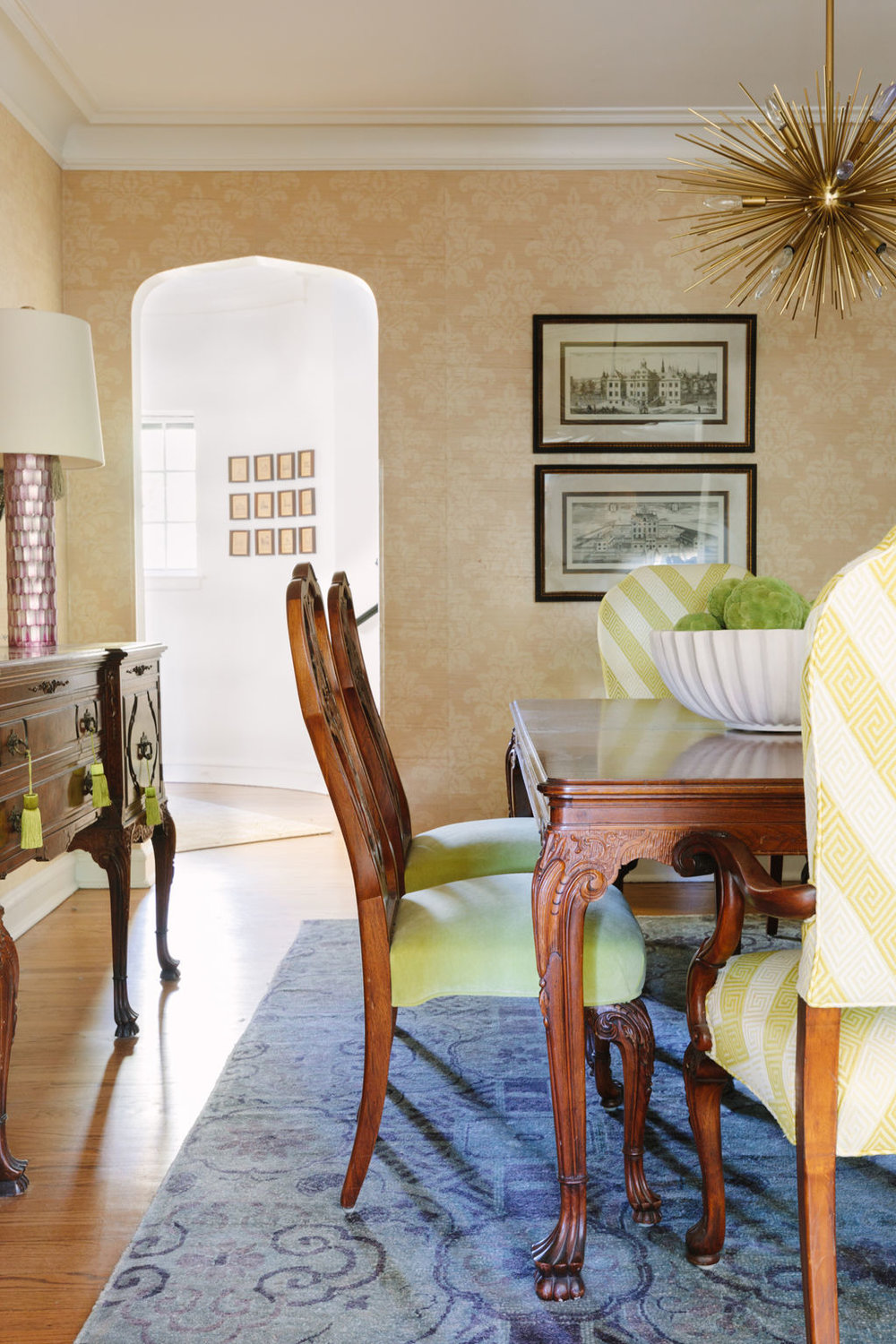 Chicago interior designer ABC Carpet and Home rug and Ro Sham Beaux lamps