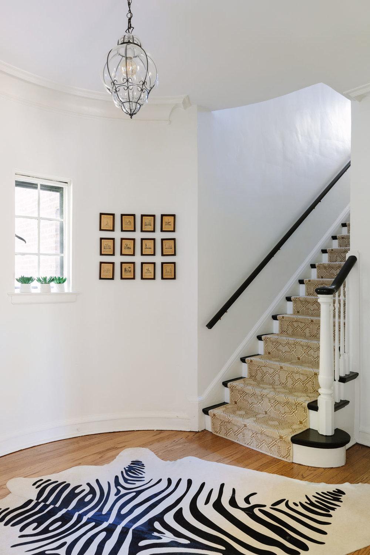 Chicago interior designer Zebra hide and sisal stair runner