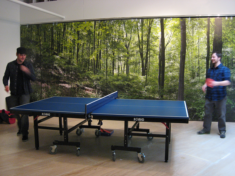 Two Dot Editions Facebook fans square off over the ping pong table.