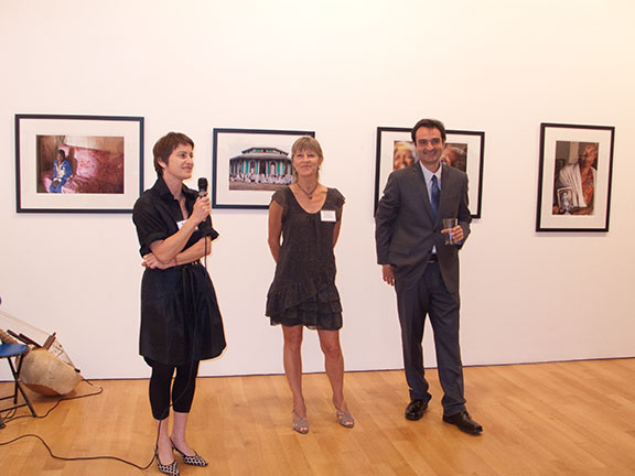Jane Cohan of Cohan Gallery, Kim Nichols of African Services Committee, and Haik Kocharian, photographer