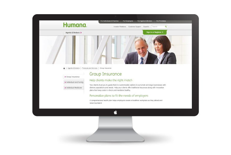 Website design for Humana Group Insurance