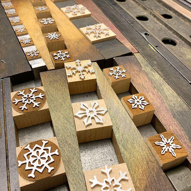 Snow flurries from printing with Paul this weekend.  _____________________  #platenpressmuseum #letterpress #moorewoodtype #broadside #poetrybroadside #getinky