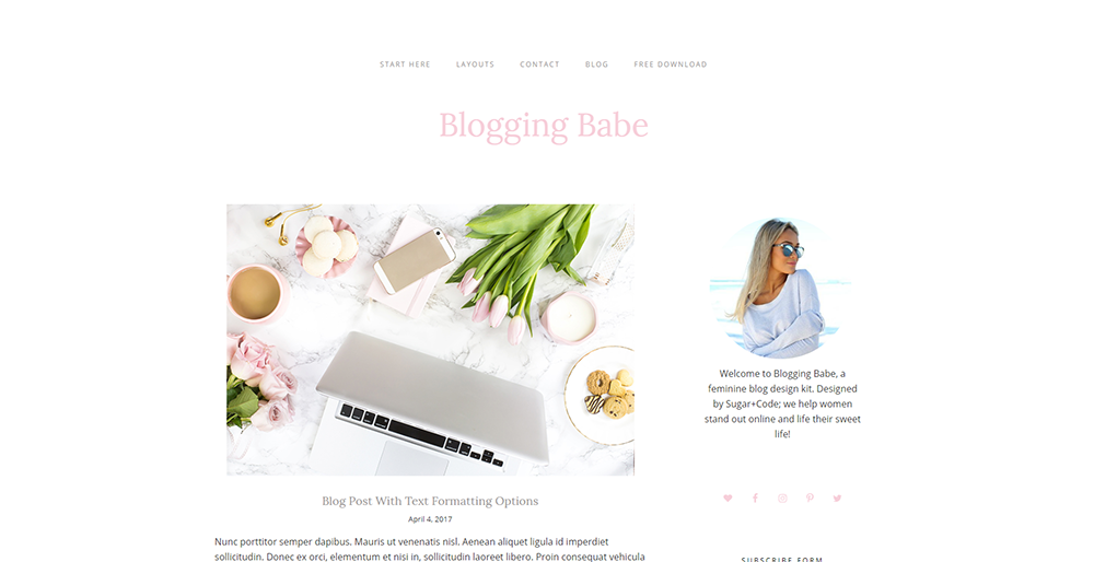 Sixty Eight Ave - blogging babe wordpress theme