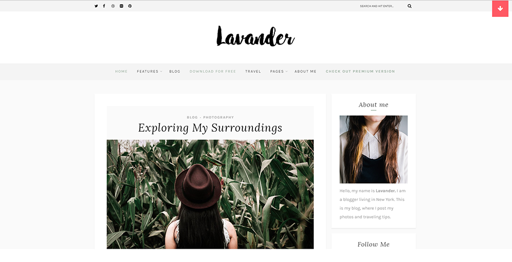 Sixty Eight Ave - lavandar wordpress theme
