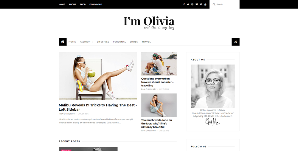 Sixty Eight Ave - Olivia Blogger Theme