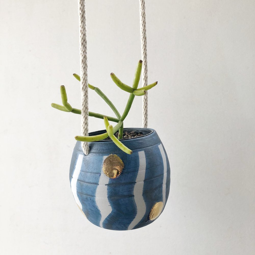 BLUE WAVY STRIPE GOLD SPOT SMALL HANGING PLANTER Bridget Bodenham Ceramics House and Court Sydney 1.jpg