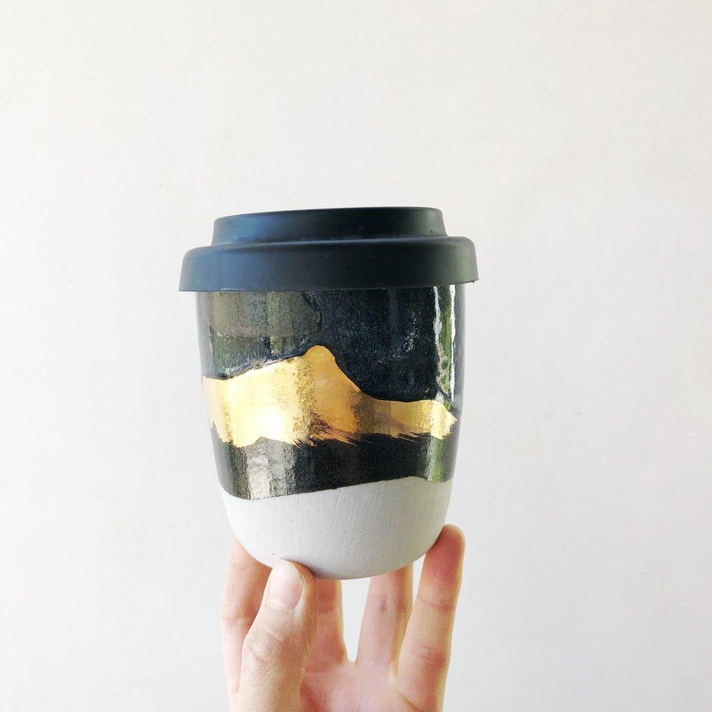 GOLD MOUNTAIN TRAVELING TREASURE CUP WITH BLACK LID Bridget Bodenham Ceramics House and Court Sydney 1.jpeg