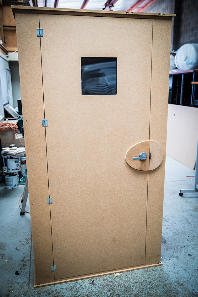 Front of vocal booth