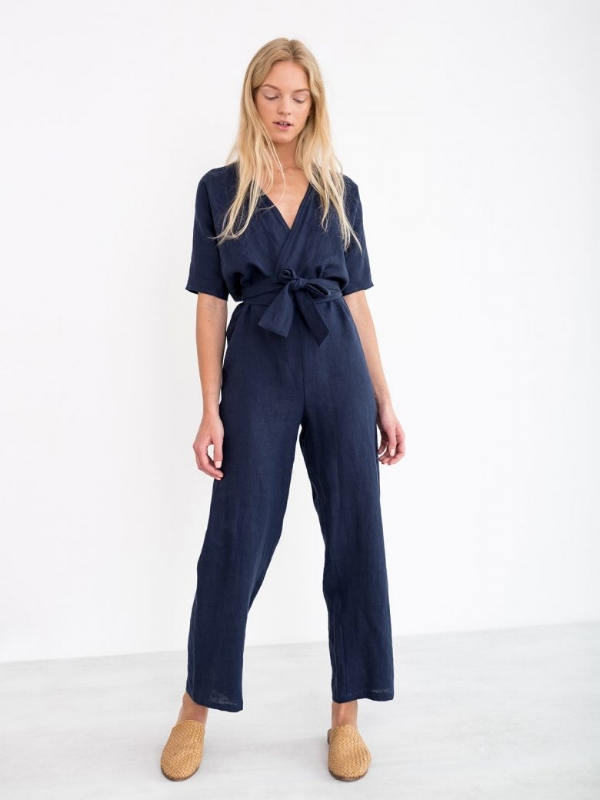 Aurora linen jumpsuit by  Love and Confuse . I love wearing jumpsuits because they are still classy and modest, yet cute. This one has pockets (thank God) and is linen, which means it's lightweight and we won't sweat! Cotton or linen overalls are also great!