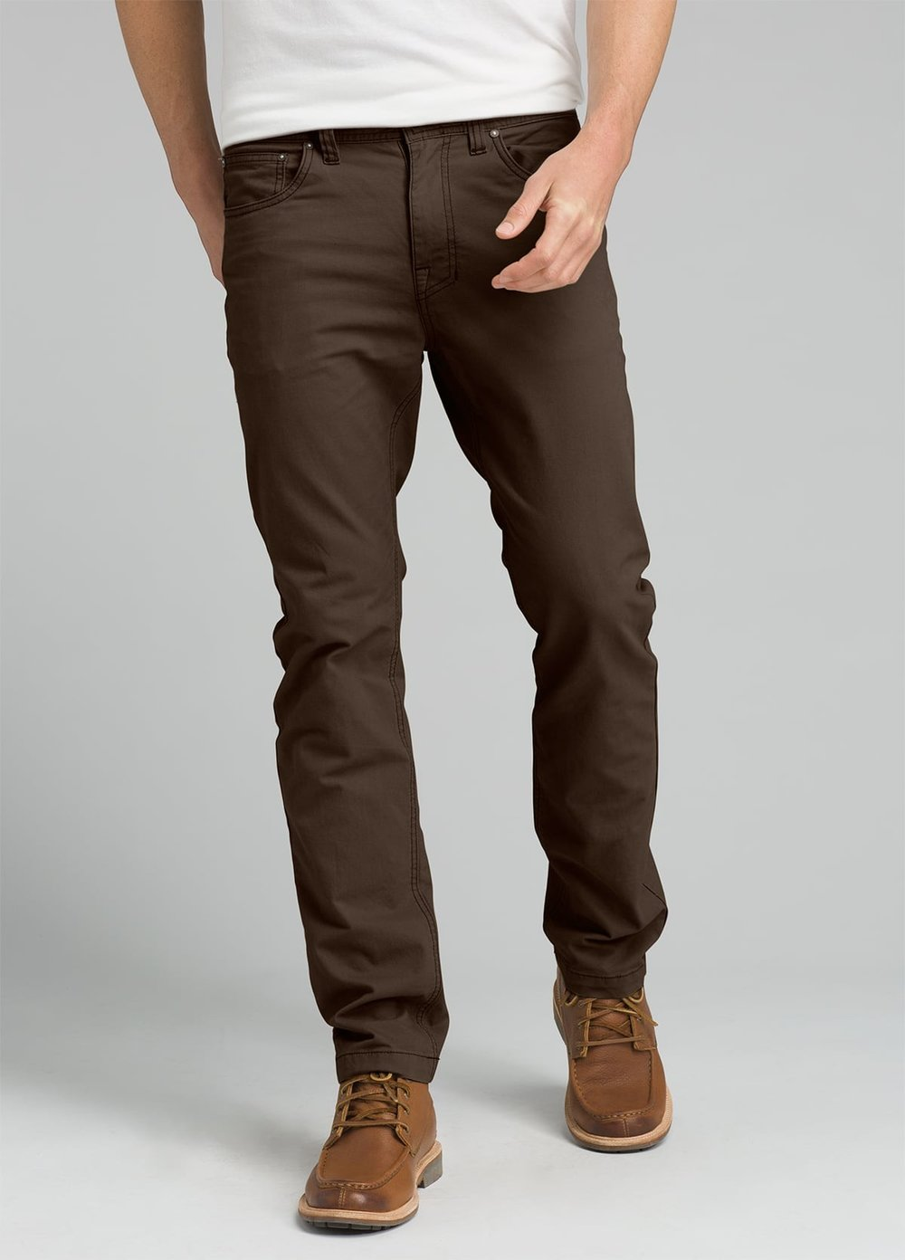 Prana  men's fair trade pants. So many colors and styles that we can mix and match with different button down shirts. Other great brands:  Thought  and  Toad&Co