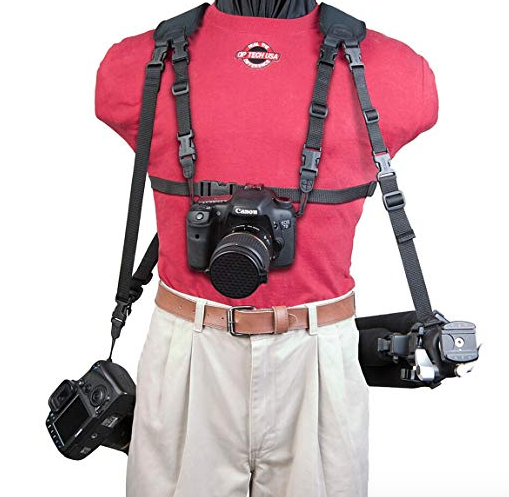 OP/TECH  harness can have up to three cameras. I love the chest harness because it makes sure we won't slam our cameras into anything, which is a real thing! $45