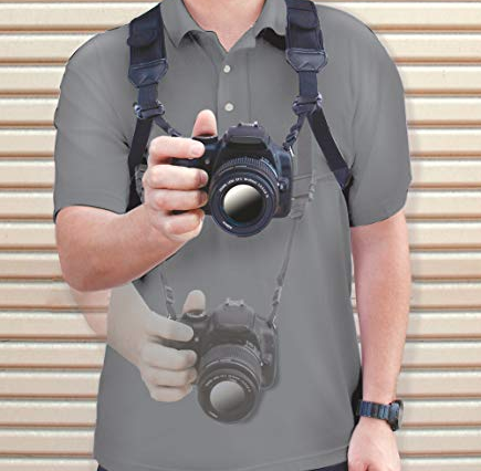USA Gear 's camera harness can only hold one camera, but it's great for beginner photographers that want to get away from the neck strap. $15