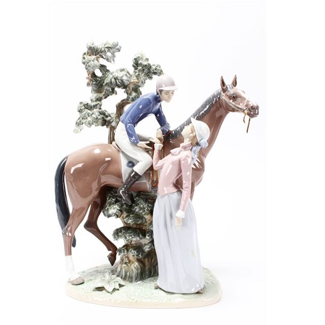 For all the Lladro lovers out there, this Large 'Jockey With Lass' Porcelain Group to be auctioned in our October sale along with many other large figure groups, naughty girls and nativity sets, all in pristine condition👌 #aalders #aalders_sydney #aaldersauctions #lladro #lladroporcelain #spanishporcelain #naoporcelain #lladrofigurine #lladrolovers #lladró #lladrospain #lladrocollector #sydneyantiques #sydneyauctions #antiquesforsale #antiquesroadshow #antiquesofinstagram