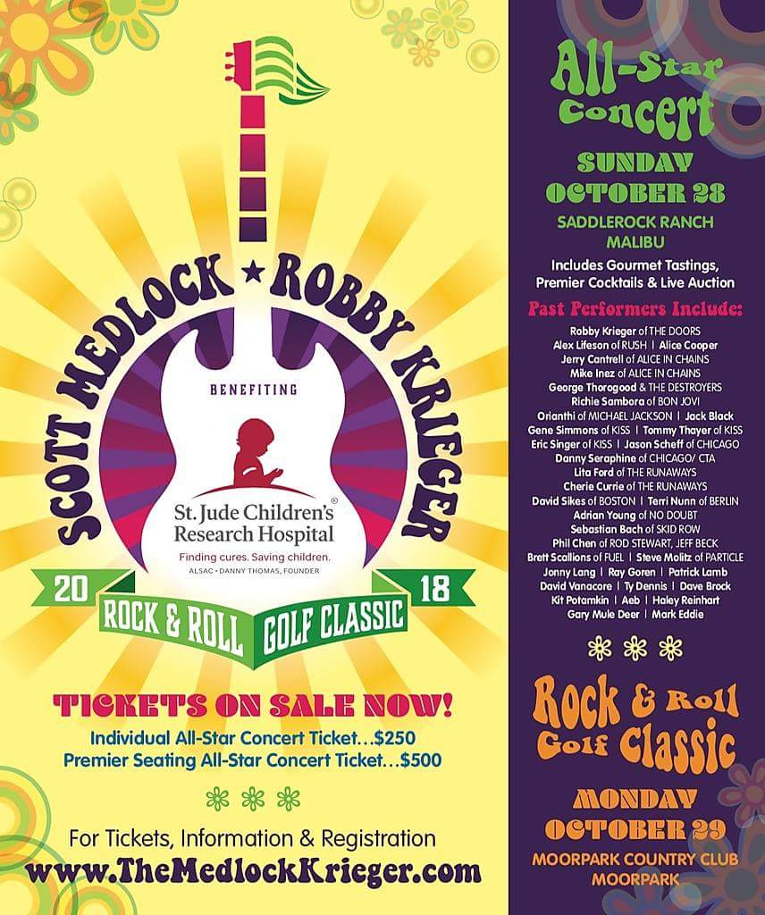Medlock-Krieger Rock & Roll All-Star Concert - Featuring Robby Krieger of The DoorsSaddlerock Ranch,31727 Mulholland Hwy, Malibu, CA 90265Sunday, October 28, 2019 - 4:00 PMEARLY RESERVE TICKETS AVAILABLE THROUGH AUGUST 31ST. GET YOUR TICKET TODAY! (http://themedlockkrieger.com)Individual Concert Ticket - $250Premier Seating Ticket - $500 (Lounge Seating Reserved Section Access)
