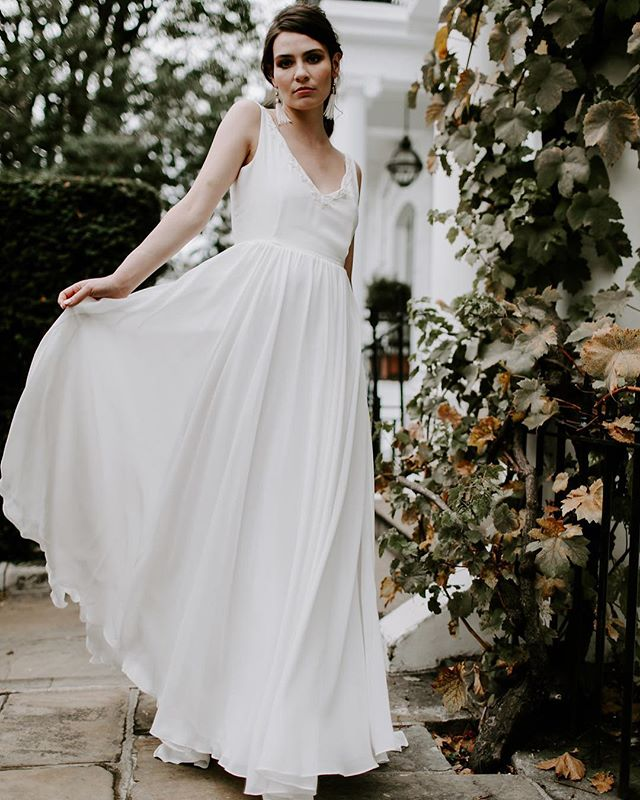 VENUS // Floaty layers of silk georgette with a V front and back neck bodice and tonal beading.