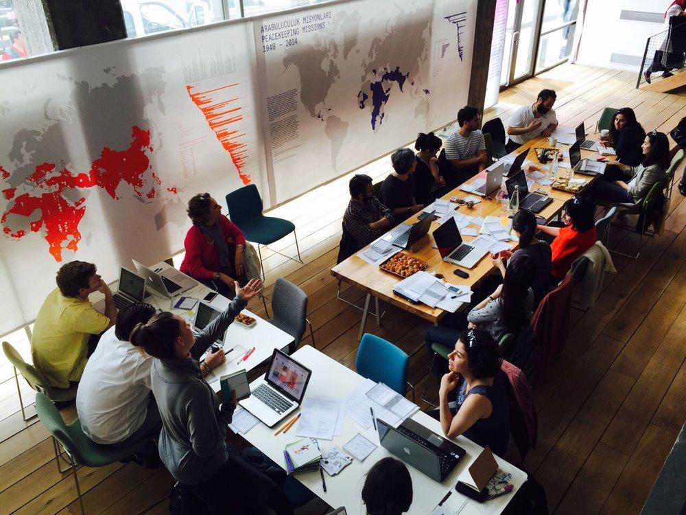 Writers meet-up at Studio X, Istanbul, 2015