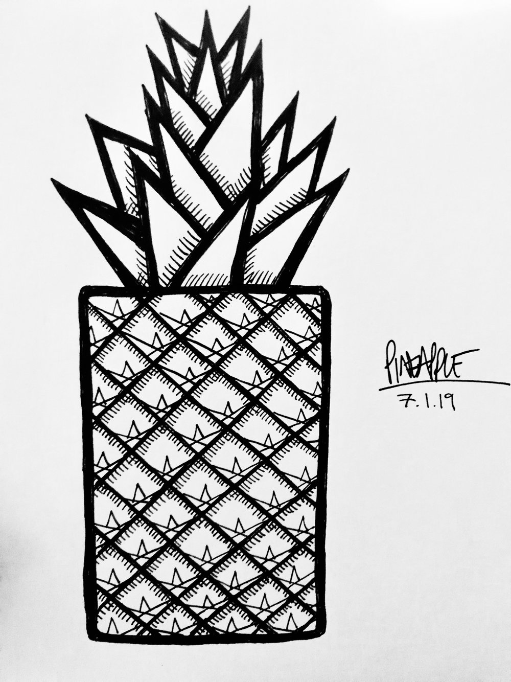 My geometric pineapple - it 'ain't perfect, but I like it!