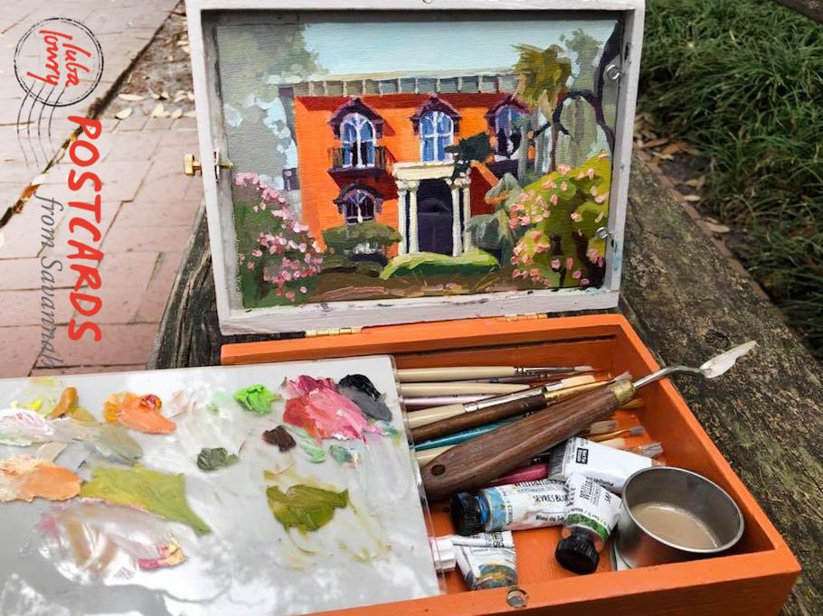 Luba's William-Mercer House painting in progress.