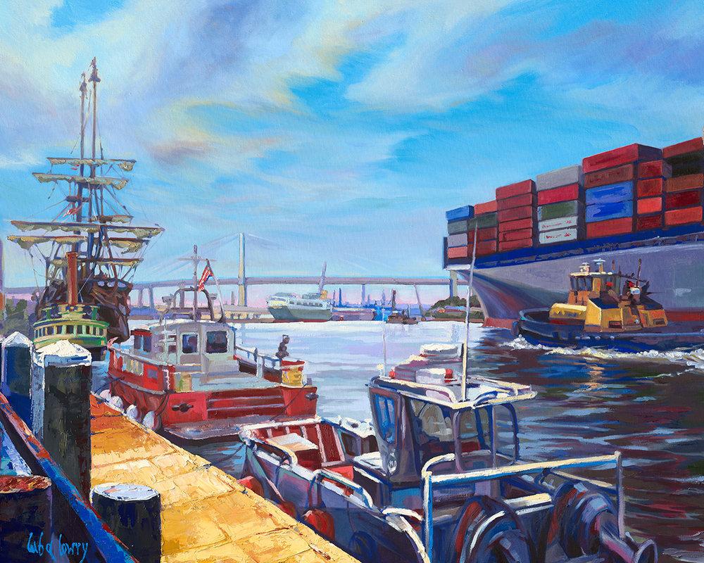 Nine Boats on the Savannah River by Luba Lowry, 5x7