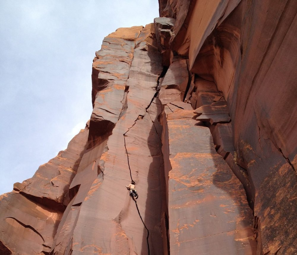 Climbing MC's Hammer, 5.11, Indian Creek, Utah PC: Jackie Maher