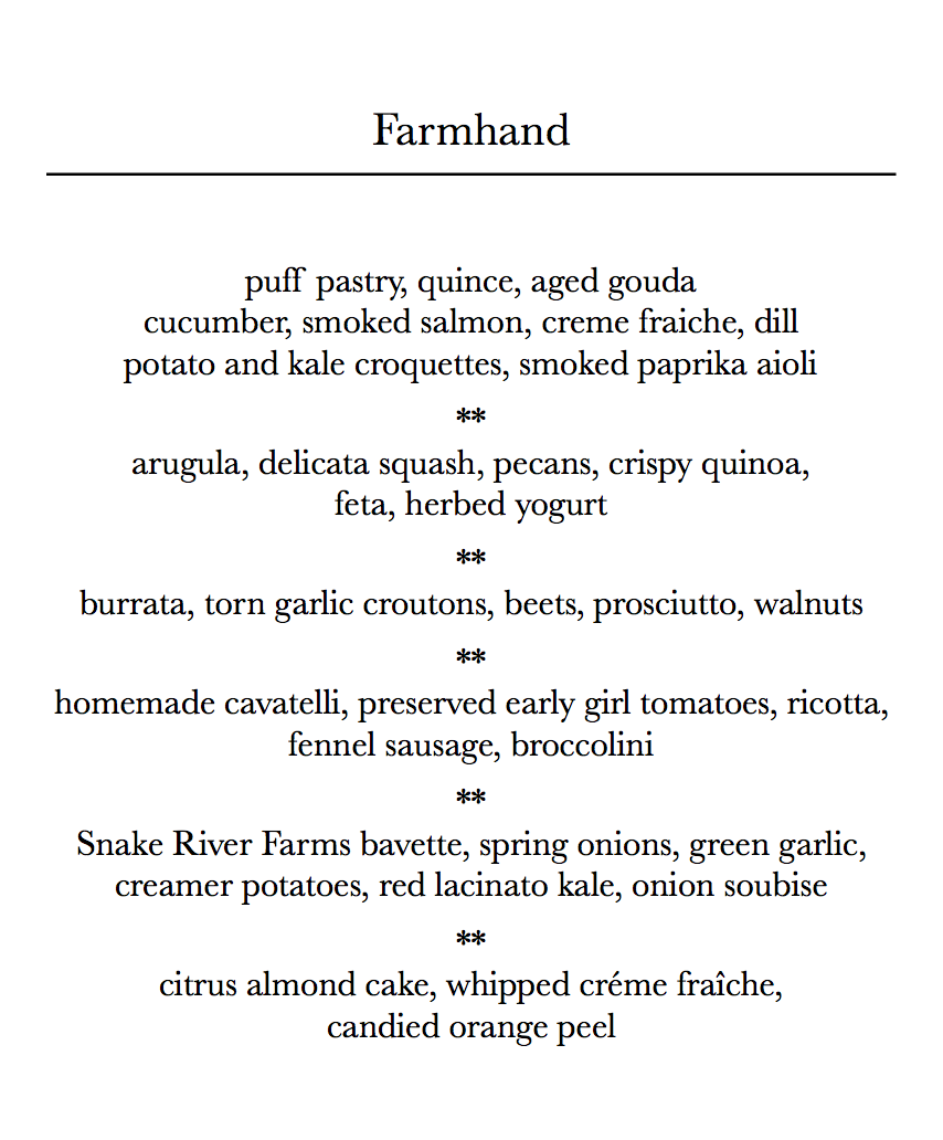 * five-course plated menu with passed hors d'oeuvres