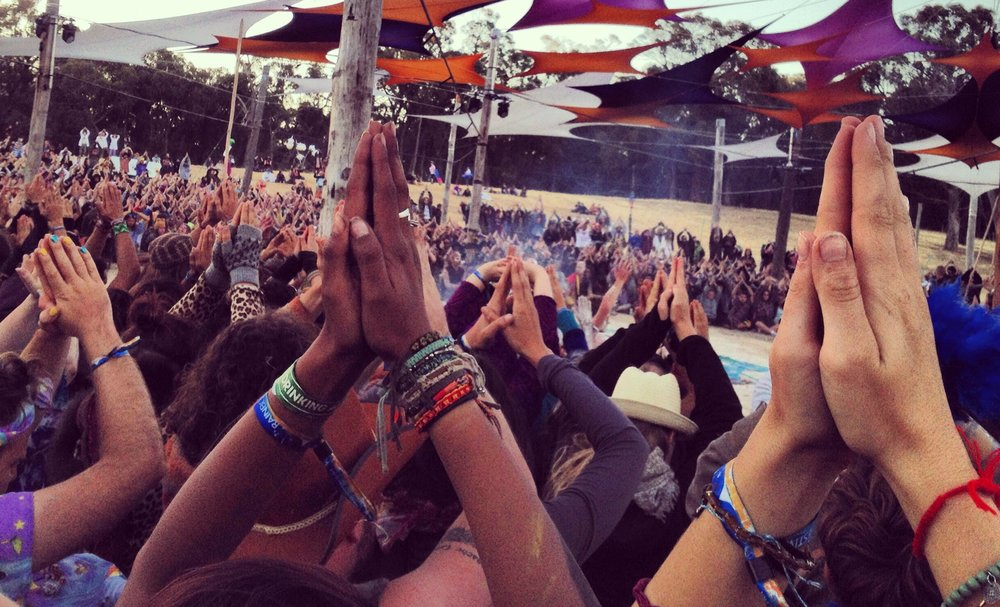 Gassho hands at Rainbow Serpent Festival, Australia