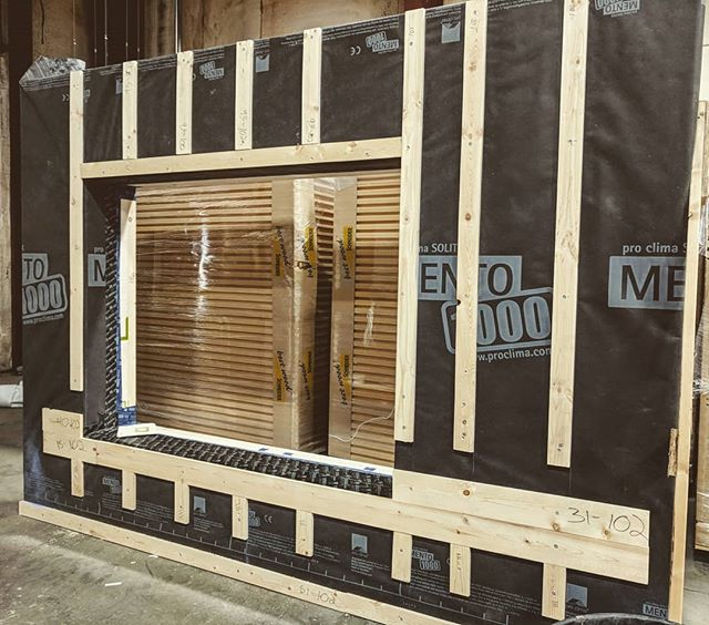 A Phoenix Haus prefab panel ready for shipment...approx R-50 with pre-flashed air and weather tight detailing, featuring fiberboard exterior insulation and an interior cavity chase = 90% energy reduction, non toxic material, no drafts or cold feet, a happy and healthy family!  #prefab #colorado #passivehouse #carbonfree #colorado
