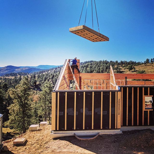 Bluebird sky day + prefab passive house...what more do you need?  #prefab #offsite #passivehouse #lowenergy #colorado #mediumhaus #newbreed #coloradobluebirdsky