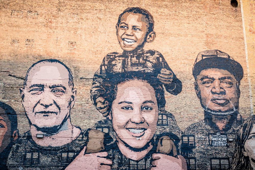 Cincinnati Faces of Homelessness mural /  photo by Salvador Mendoza