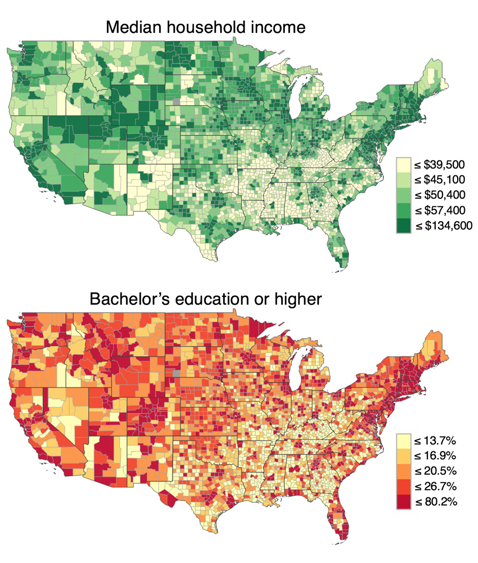 US County-level maps (2016) of Median Household Income and Education level