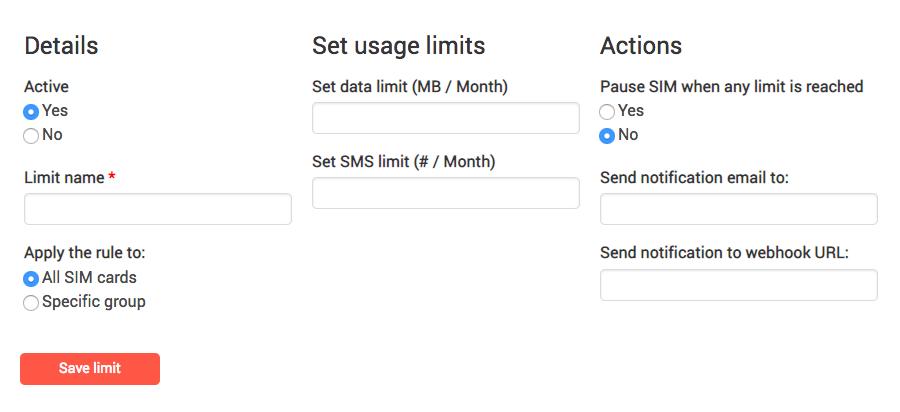 Limit usage