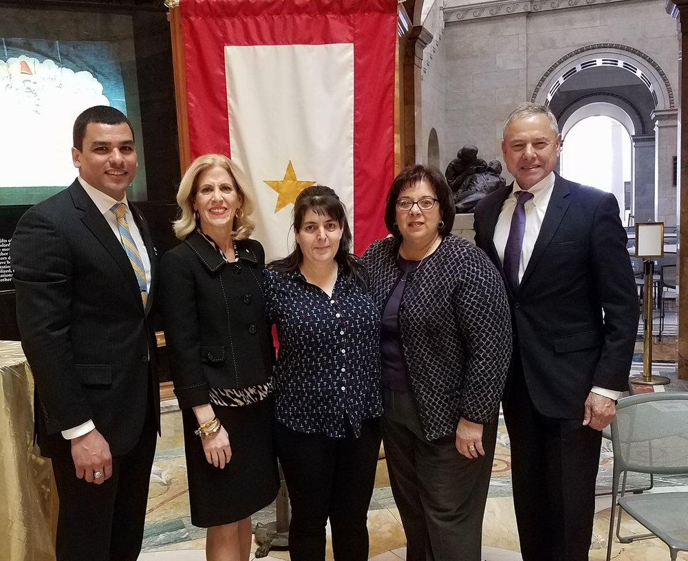 Gold Star wife Christine Landry came to the Massachusetts State House and we were honored to stand with her. (Pictured L-R: Department of Veteran's Services Secretary Francisco Urena, State Representative Carole Fiola, Christine Landry, Karen Almeida (State Senator Michael Rodrigues' office), and myself)