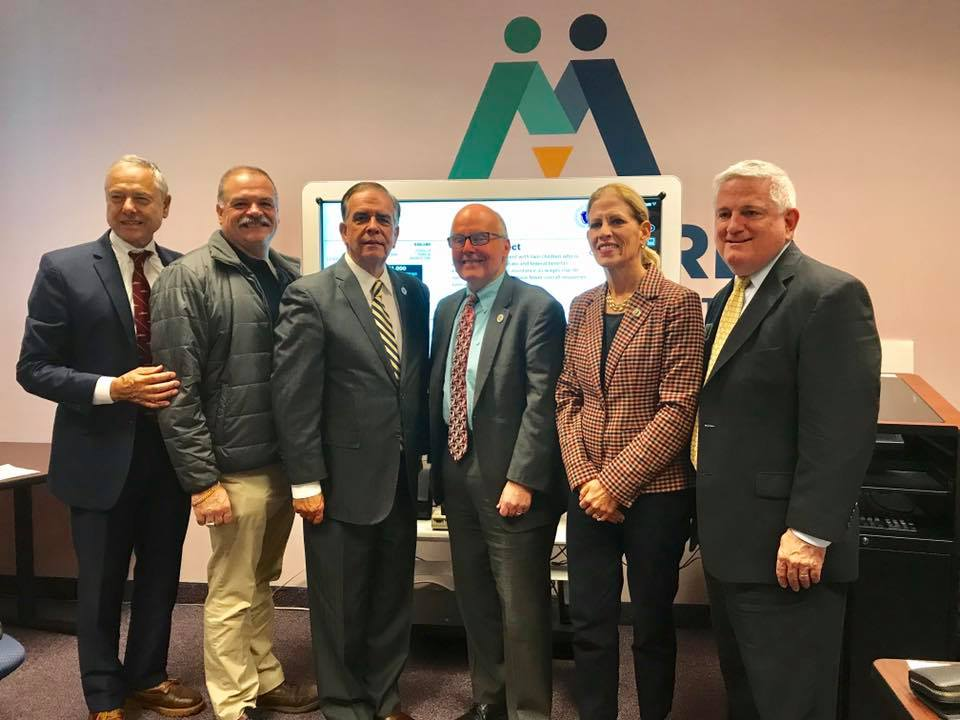 (L-R) State Representative Paul Schmid, Joe Amaral, State Representative Alan Silvia, Commissioner Jeff McCue, State Representative Carole Fiola, and Bristol County Chamber of Commerce President Mike O'Sullivan