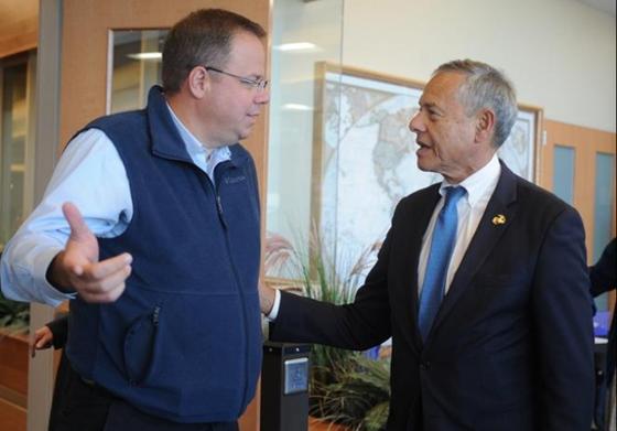 Jason Lefferts and State Representative Paul Schmid discuss health insurance in Fall River