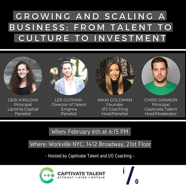 In NYC? Come hang with us next Wednesday to learn about scaling your company. Also will have yummy food and drinks as well. Hope to see you there! Link to RSVP is in bio @captivatetalent